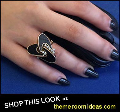 Round Brilliant Cut  Natural Diamond Ring With Onyx  Yellow Gold  womens dress rings womens jewelry