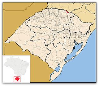 Cidade de Marcelino Ramos, no mapa do Rio Grande do Sul