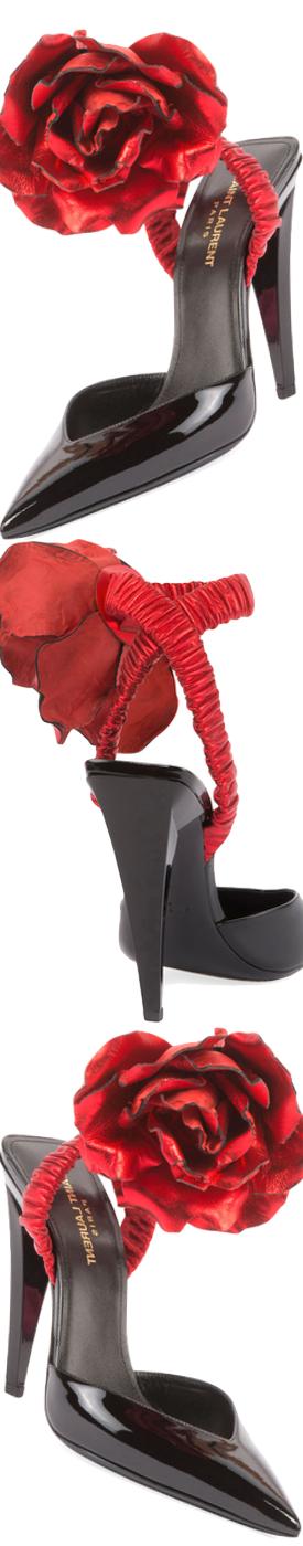 Saint Laurent Patent Slingback Pump w/Rose Flower