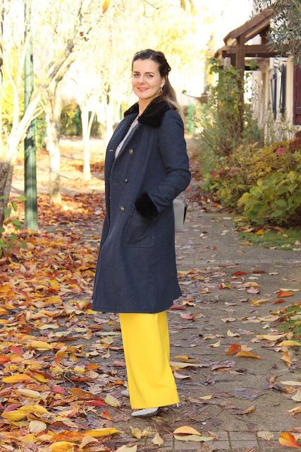 porter du jaune en automne, look du jour, les petites bulles de ma vie