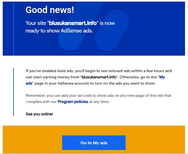 Tampilan Pemberitahuan dari Email bahwa Blog sudah diterima untuk Menampilkan Iklan Adsense