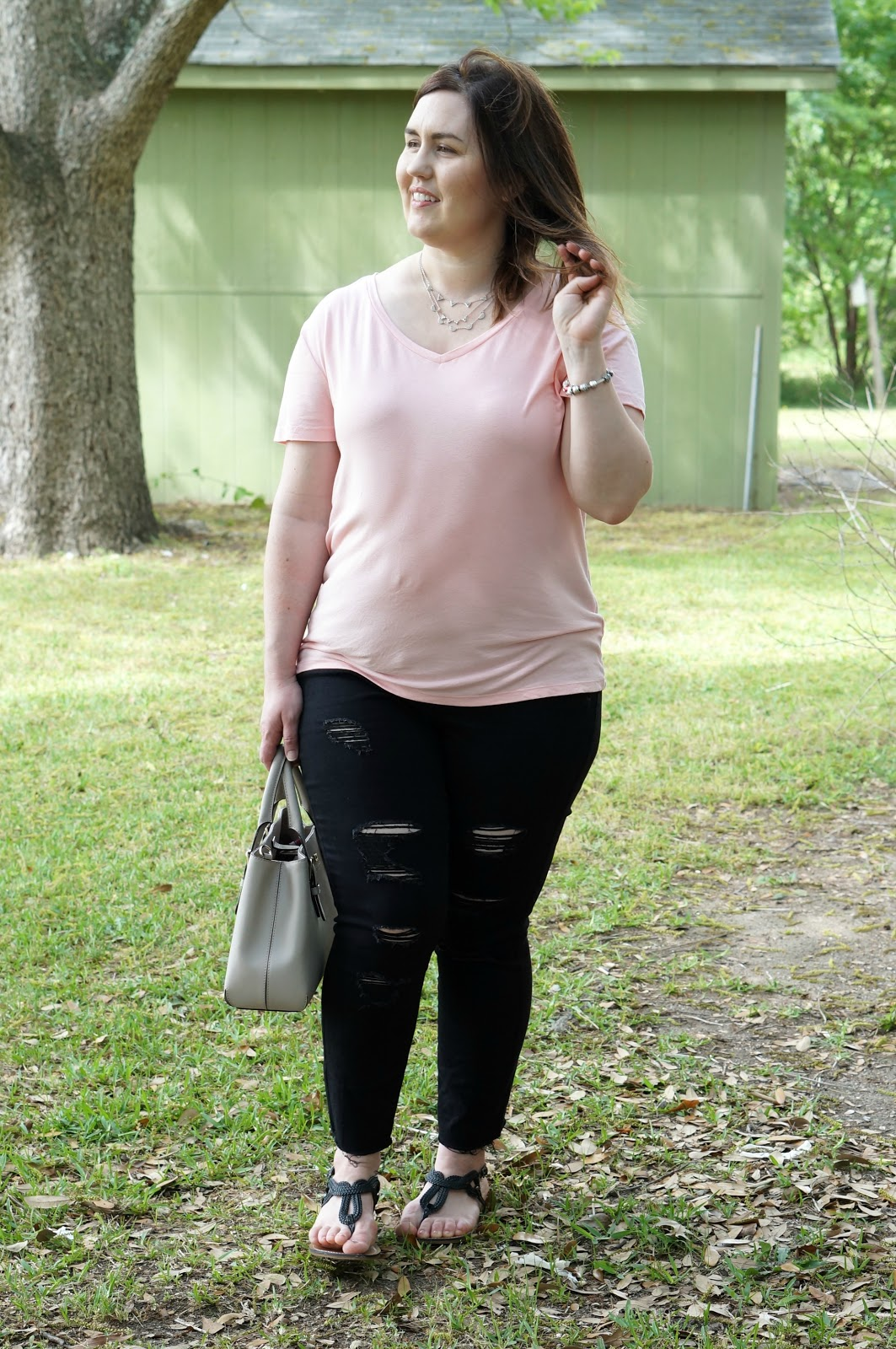Rebecca Lately Merona Soft Scoop Neck Tee Old Navy Black Distressed Jeans Merona Jana Quarter Strap