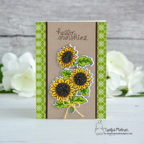 Sunflower Card by Zsofia Molnar | Sunflower Days Stamp Set by Newton's Nook Designs #newtonsnook #handmade