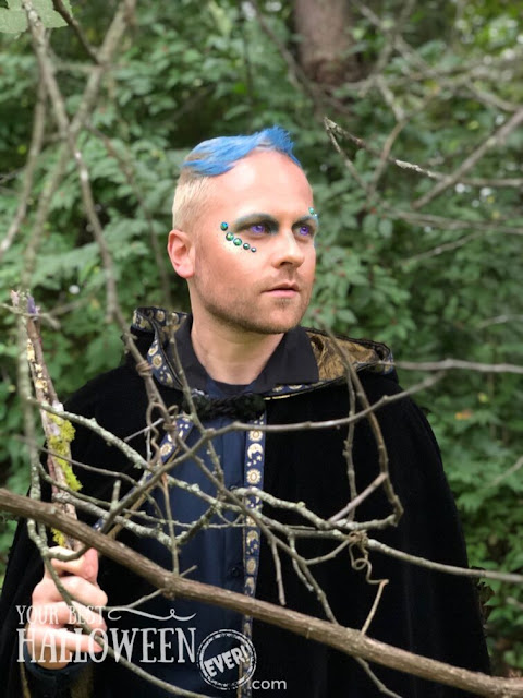 crystal wizard halloween costume, woodland wizard with blue hair in cloak