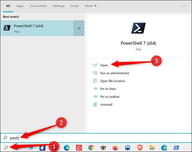 ابحث عن PowerShell من شريط بحث Windows.