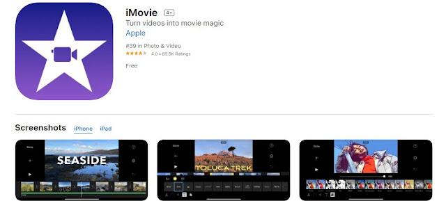 Screenshot of iMovie on App Store