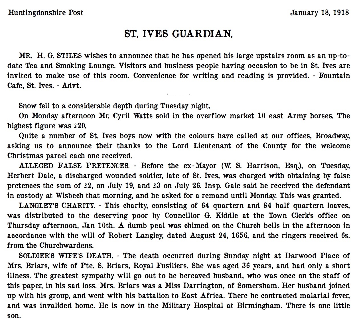 St Ives 18 January 1918