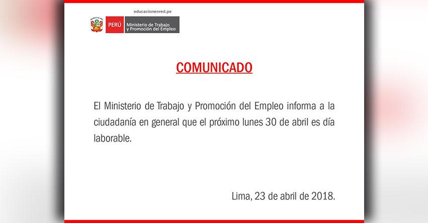 El Lunes 30 de Abril NO será Feriado, informó el Ministerio de Trabajo - www.trabajo.gob.pe