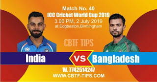 Who will win ICC CWC 2019 40th Match India vs Bangladesh