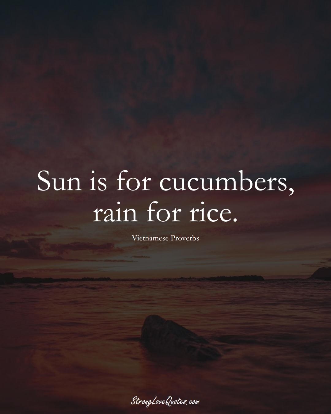 Sun is for cucumbers, rain for rice. (Vietnamese Sayings);  #AsianSayings