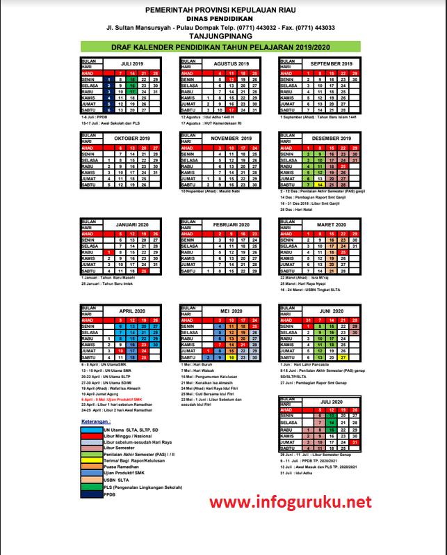 Kalender Pendidikan Tahun Pelajaran 2019 2020 Provinsi Kepulauan Riau Infoguruku