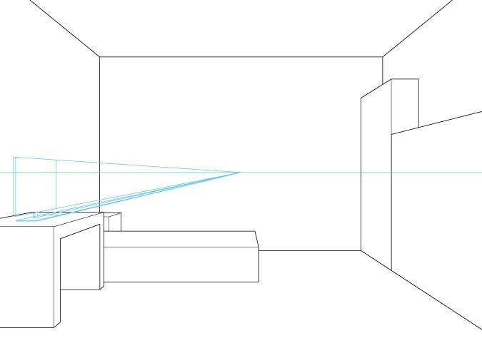 Perspektif satu titik menggambar monitor komputer