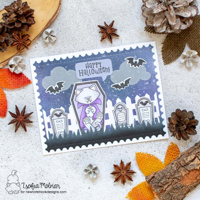 Halloween Vampire Cat Card by Zsofia Molnar   Count Newton Stamp Set, Fence Die Set, Sky Scene Builder Die Set, Framework Die Set and Speech Bubbles Die Set by Newton's Nook Designs #newtonsnook