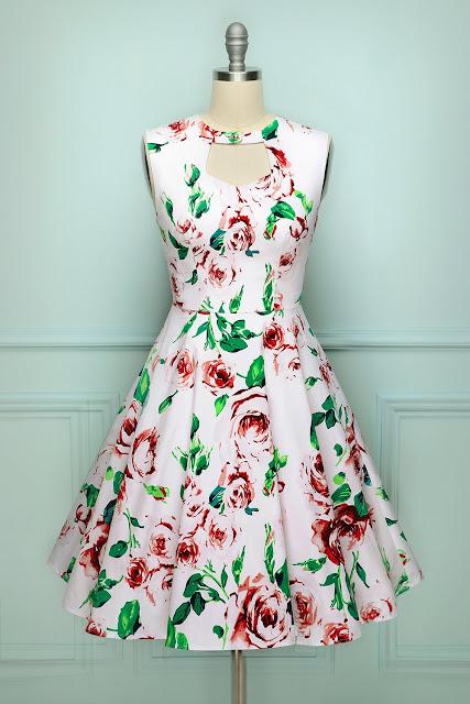 White Print Swing Dress