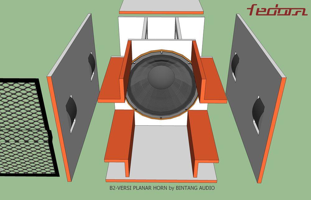 Tampak depan rangka lepas skema box planar horn