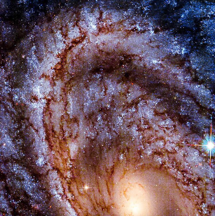 Uma extraordinária galáxia espiral em close up