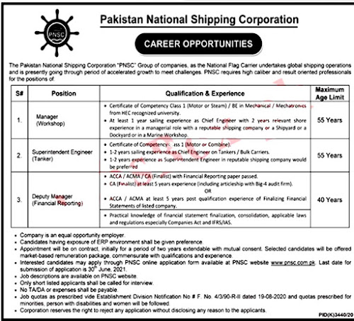 Latest Jobs in Pakistan National Shipping Corporation PNSC 2021