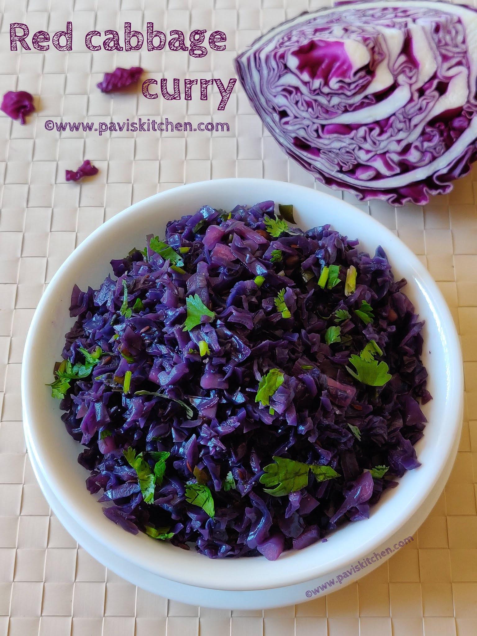 Red cabbage curry recipe | Indian red cabbage poriyal | purple cabbage poriyal recipe