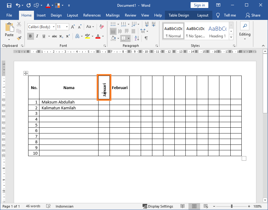 Membuat Teks / Tulisan Miring Vertikal pada Judul Kolom Tabel Microsoft Office Word