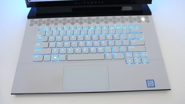 The keyboard of Dell Alienware m15 r2 laptop is well-placed at the center.