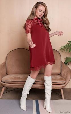 Vestidos con Encaje Rojo