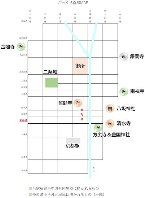 京都の略地図 洛中洛外図で描かれているスポットを図示