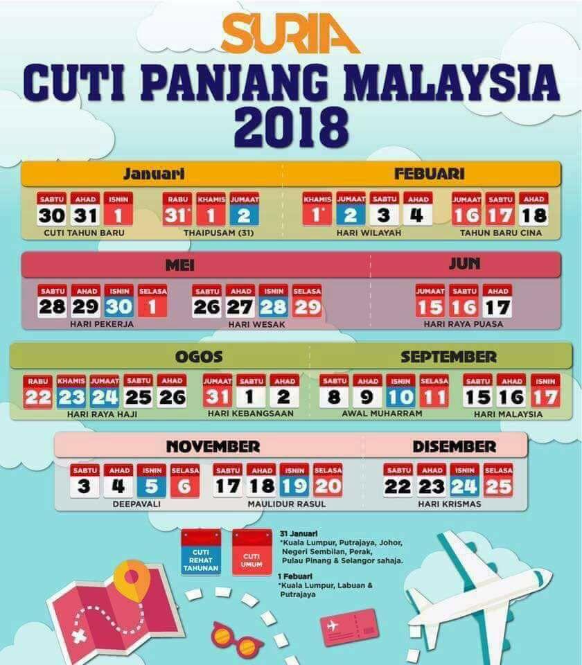 (Senarai) Tarikh Cuti Panjang Kalendar Tahun 2018 Untuk Malaysia
