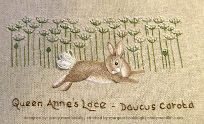 Embroidered hare (for the travel pouch) from Jenny McWhinney's Queen Anne's Lace