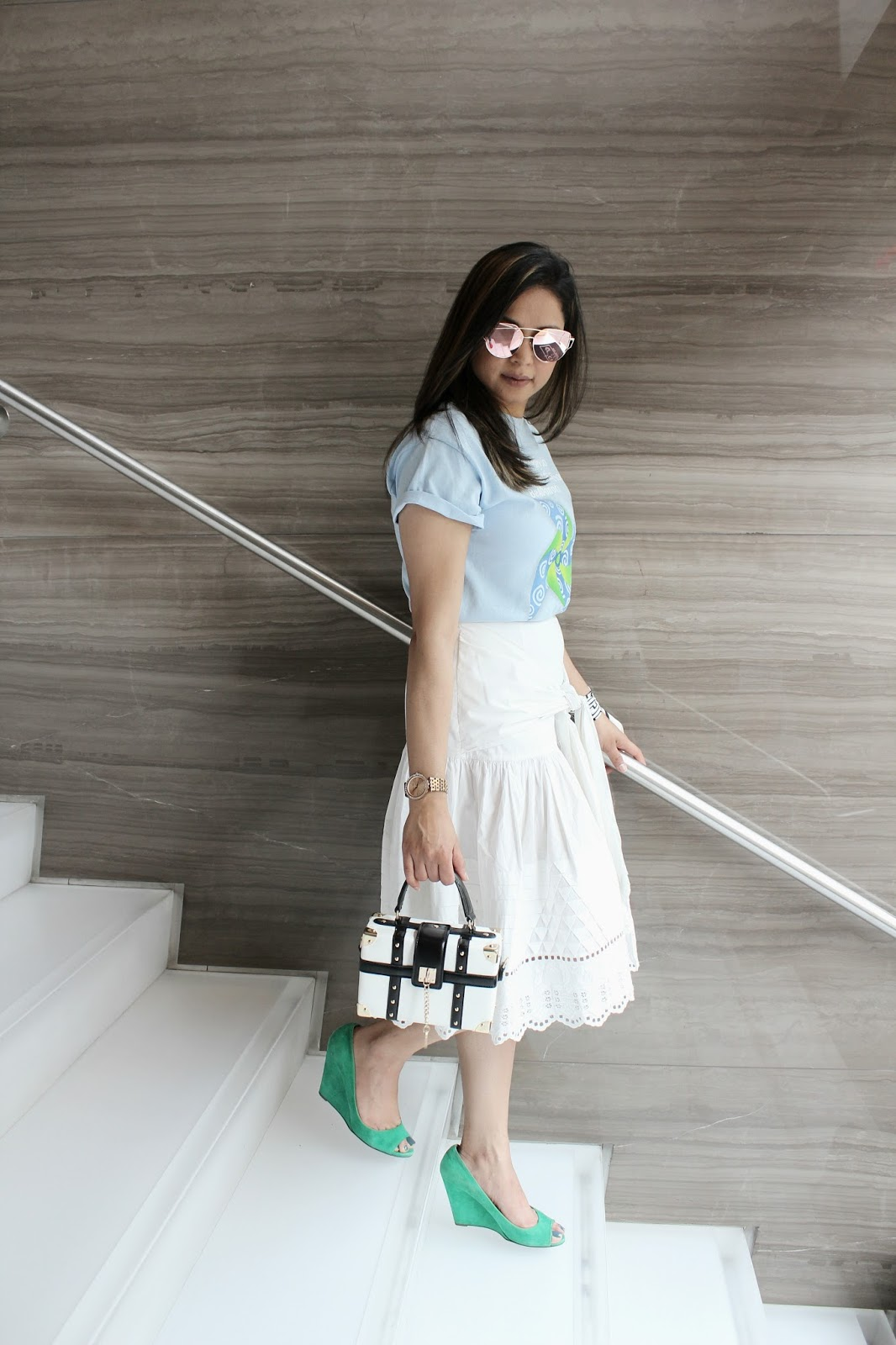 wear blue and green day 2017, campaign, philanthrophy, givin gback, white skirt, suno skirt, t shirt outfit, casual, ootd, fashion , ad, sponsored, done vida , blogger, saumya