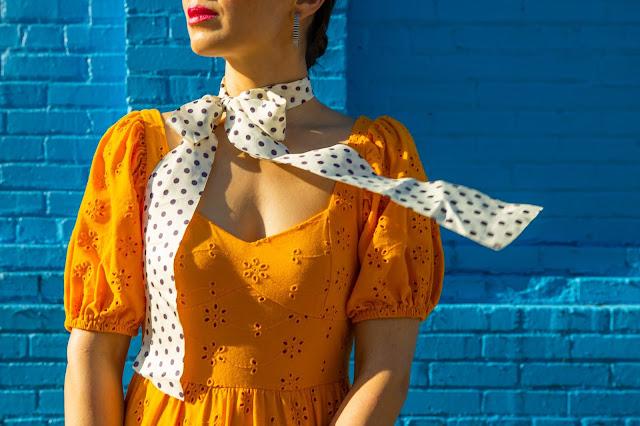 magenta lips and polka dot scarf