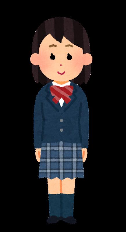 ブレザーを着た女子学生のイラスト 冬服 学生服 かわいいフリー素材集 いらすとや