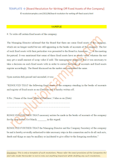 board resolution for writing off fixed assets