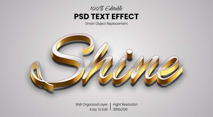 3D Shine Text Effect Mockup