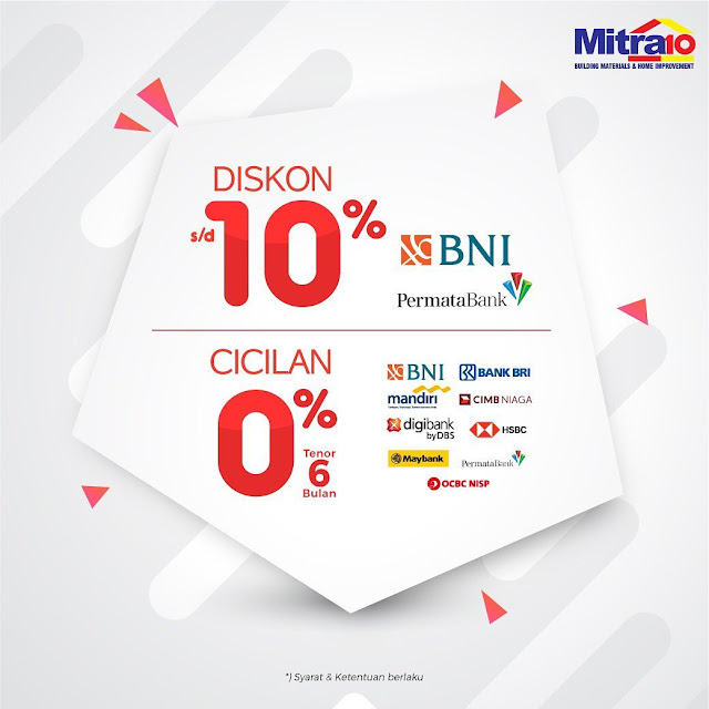 #Mitra10 - #Promo Cashback 5% & Diskon 10% Pakai Permata BNI (23 - 25 Agustus 2019)
