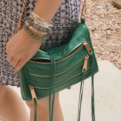 navy printed dress, bracelet stack, Rebecca Minkoff emerald green mini 5-zip rocker bag  | awayfromtheblue