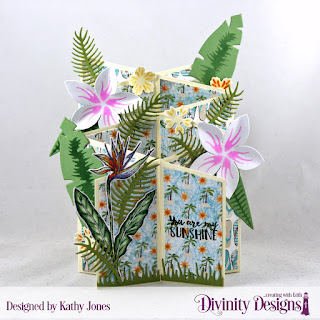 Divinity Designs Stamp Set: Aloha,  Custom Dies: Bitty Blossoms, Ferns, Frangipani, Tropical Leaves, Cascade Fold Card with Layers, Grass Lawn, Bird of Paradise, Paper Collection: By The Shore