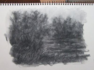 charcoal sketch nature water stream river