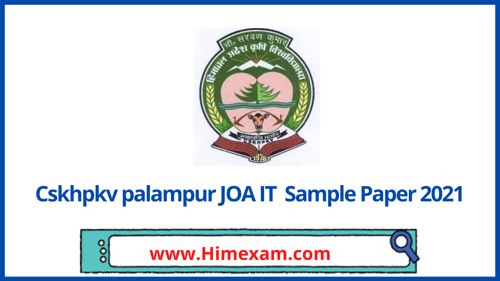 Sample Paper For the Post of JOA(IT)-cskhpkv palampur(Part-1)