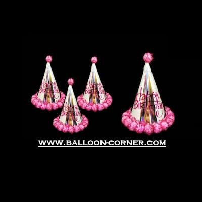 Topi Ulang Tahun Anak Kerucut Metalik Pom Pom (Pink)