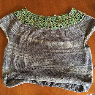 tee with crocheted yoke and knit body partially finished