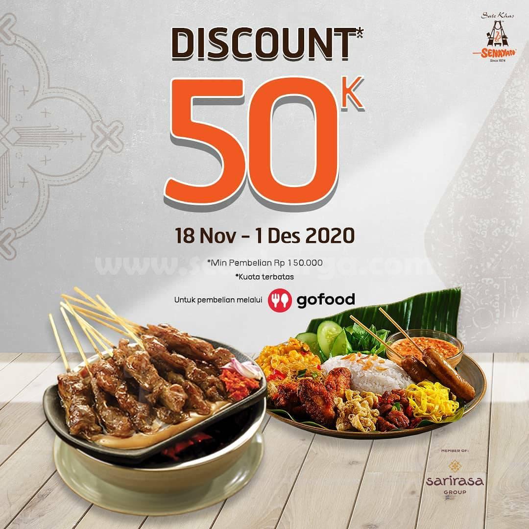 Promo Sate Khas Senayan Diskon Rp 50.000 khusus pemesanan via Gofood