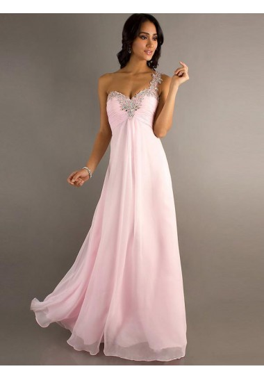A-line One Shoulder Sleeveless Floor-length Chiffon Prom Dresses