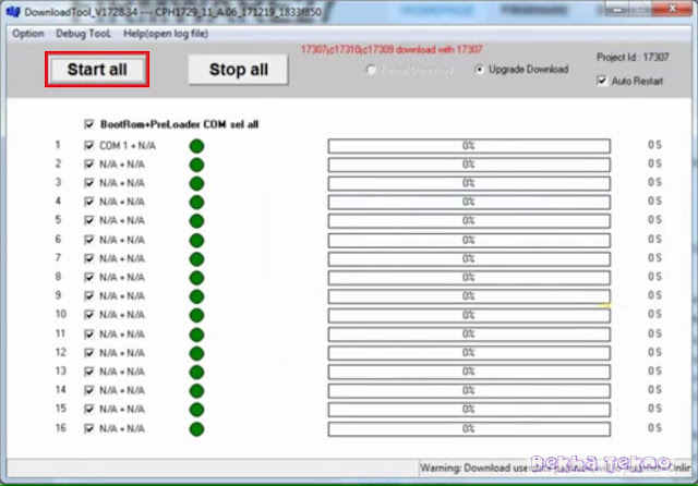 Remove FRP Akun Google, Kunci Pola Oppo A83 CPH1729 Via Flashing Menggunakan MSMDownload tool