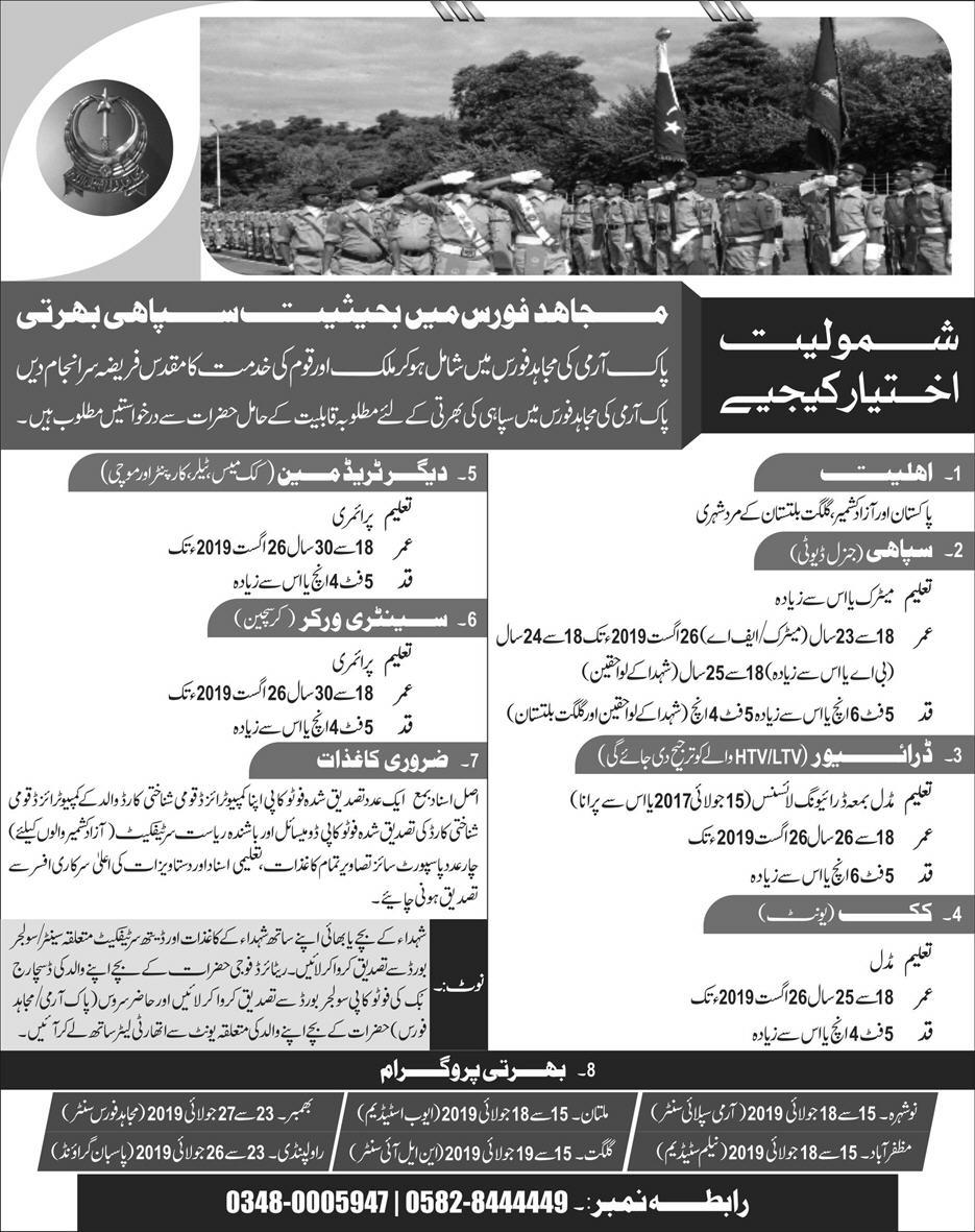 Advertisement for Pak Army Jobs June 2019