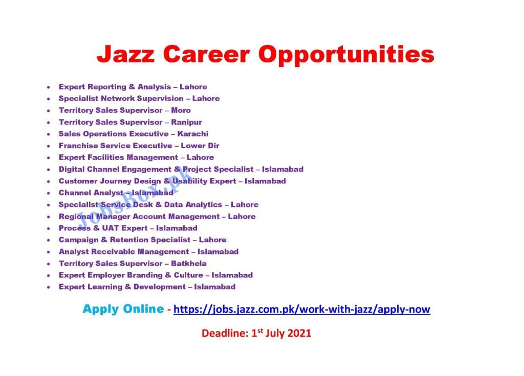 Jazz Jobs 2021 Latest Announcement – Apply Online via jobs.jazz.com.pk