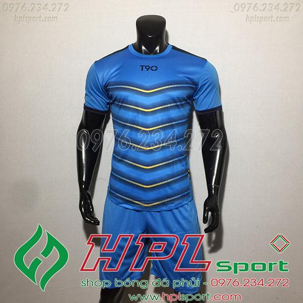 Áo ko logo T90 Leg màu xanh dương