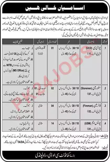 UDC and Store man Jobs in COD Rawalpindi August 2020 Latest