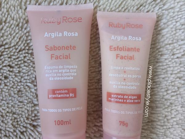 Sabonete e esfoliante Argila Rosa Ruby Rose