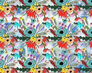 floral water colour textile repeat 7047