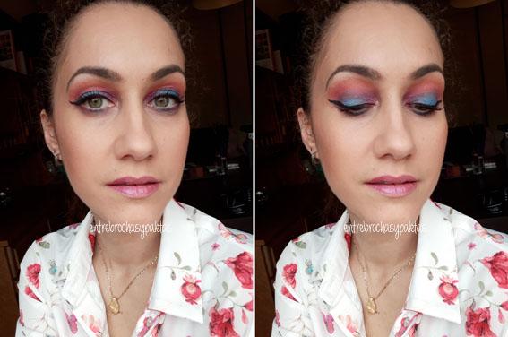 maquillaje verano azul rosa morado